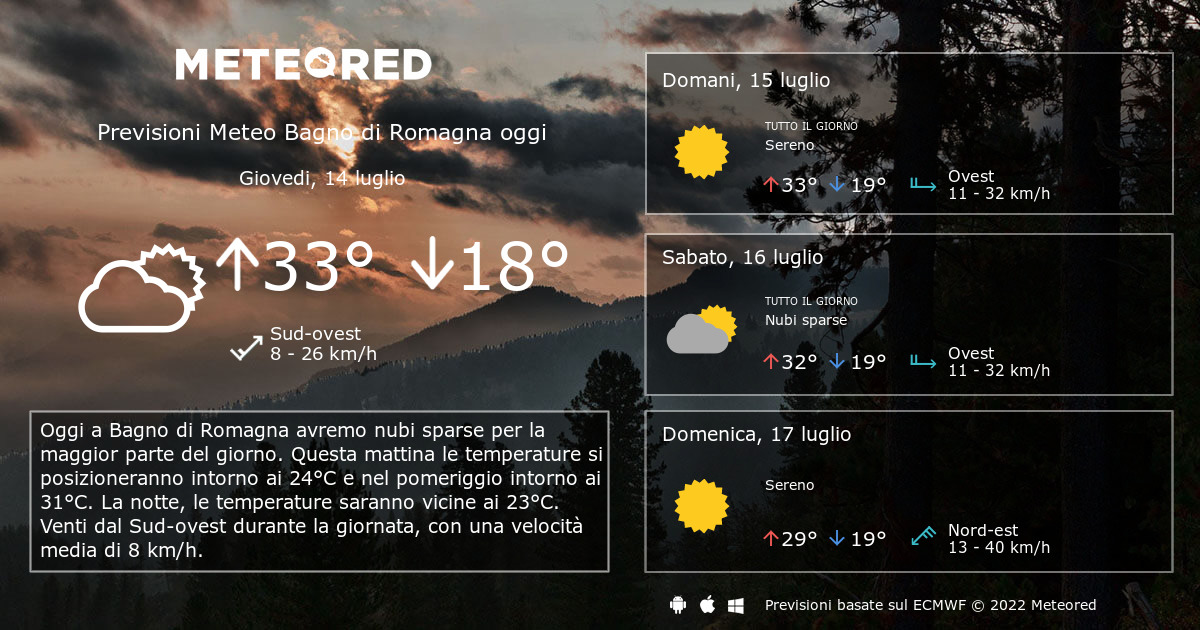 Meteo Bagno di Romagna. Previsioni a 14 giorni - ilmeteo.net